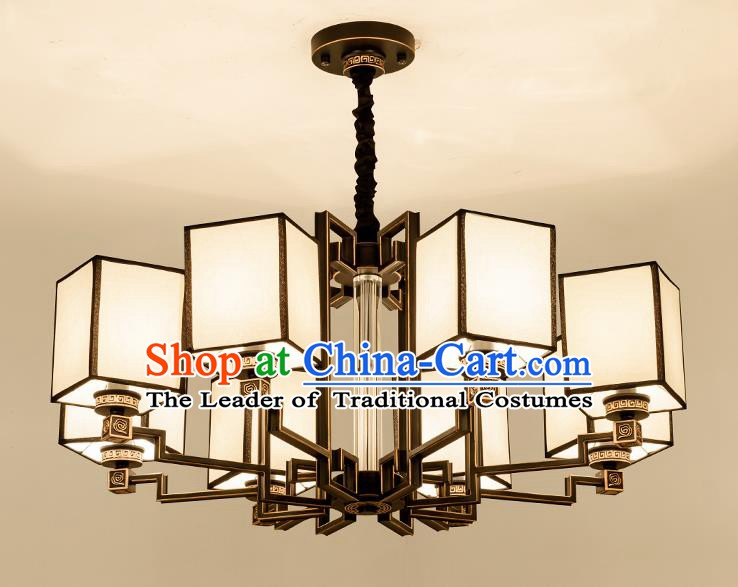 Traditional Handmade Chinese Brass Palace Lanterns Ancient Eight-Lights Ceiling Lantern Ancient Lamp