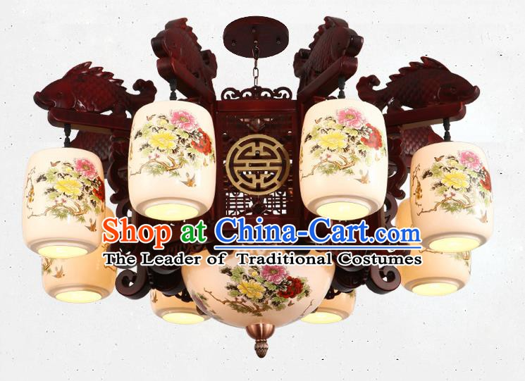Traditional Chinese Handmade Ceramics Lantern Asian Eight Dragons Head Ceiling Lanterns Ancient Lantern