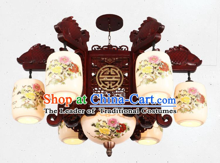 Traditional Chinese Handmade Ceramics Lantern Asian Six Dragons Head Ceiling Lanterns Ancient Lantern