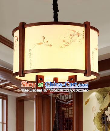 Traditional Chinese Handmade Painted Hanging Lantern Asian Wood Ceiling Lanterns Ancient Lantern