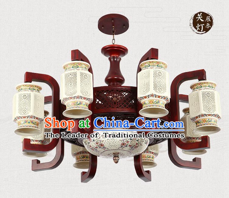 Traditional Chinese Handmade Ceramics Ceiling Lantern Asian Eight-Lights Lanterns Ancient Lantern