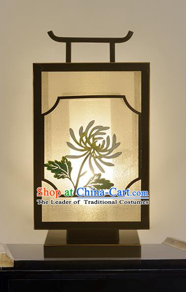 Traditional China Ancient Iron Chrysanthemum Desk Lanterns Handmade Table Lantern Ancient Lamp