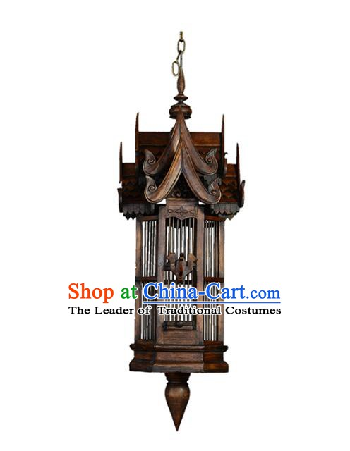 Handmade Traditional Thailand Birdcage Hanging Lantern Asian Wood Ceiling Lanterns Religion Lantern