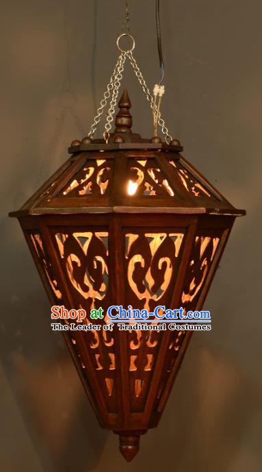Traditional Thailand Handmade Carving Hanging Lantern Asian Wood Ceiling Lanterns Religion Lantern