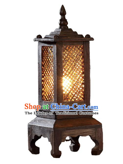 Thailand Handmade Wood Lantern Southeast Asian Desk Lanterns Traditional Lamp