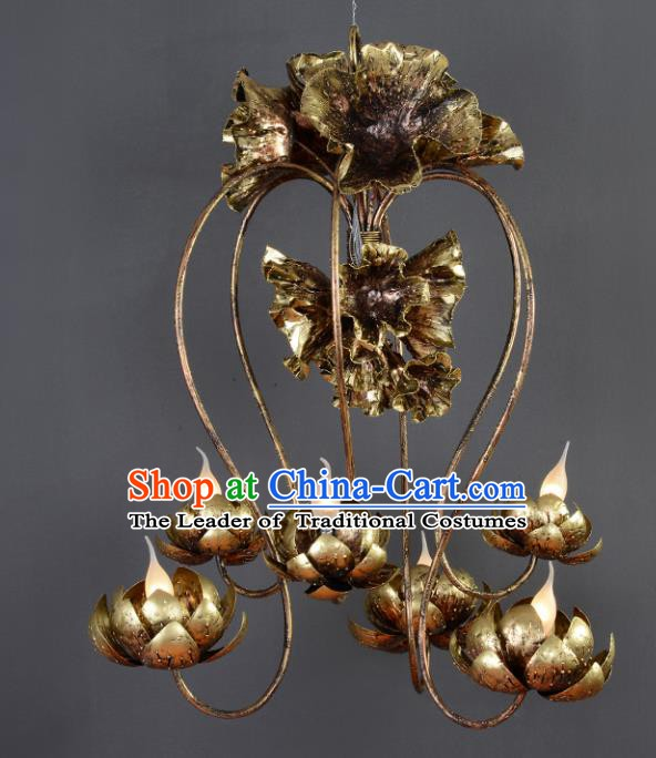 Traditional Thailand Handmade Iron Hanging Lantern Southeast Asian Ceiling Lanterns Religion Lantern