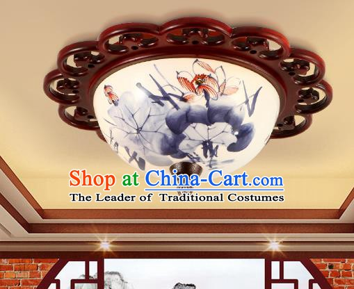 Traditional Chinese Handmade Ceramics Lantern Asian Wood Painting Lotus Ceiling Lanterns Ancient Lantern