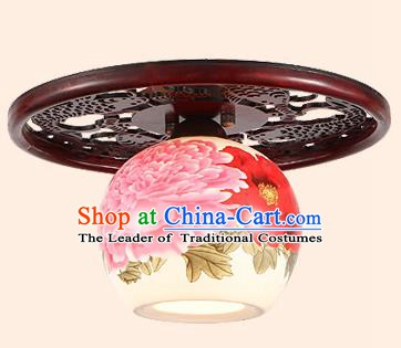 Traditional Chinese Handmade Ceramics Lantern Asian Wood Painting Ceiling Lanterns Ancient Lantern