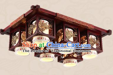 Traditional Chinese Handmade Six-Lights Lantern Asian Wood Carving Ceiling Lanterns Ancient Lantern