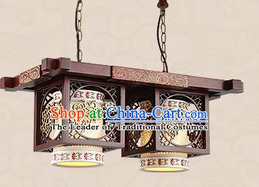 Traditional Chinese Handmade Two-Lights Lantern Asian Wood Carving Ceiling Lanterns Ancient Lantern
