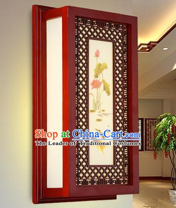 China Handmade Painting Lotus Wall Lantern Ancient Classical Wood Lanterns Traditional Lamp