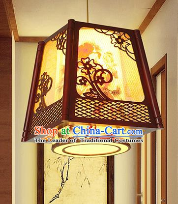 Traditional Chinese Handmade Wood Carving Hanging Lantern Asian Ceiling Lanterns Ancient Lantern