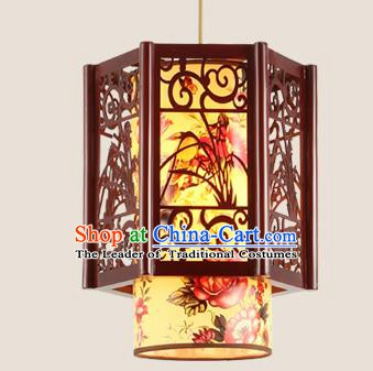 Traditional Chinese Handmade Lantern Wood Carving Orchid Hanging Lantern Asian Palace Ceiling Lanterns Ancient Lantern