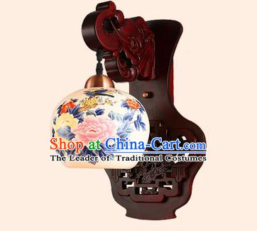 China Handmade Painted Ceramics Lantern Ancient Wood Wall Lanterns Traditional Lamp