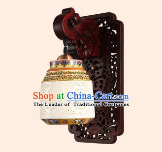 China Handmade Pierced Ceramics Lantern Ancient Wood Wall Lanterns Traditional Lamp
