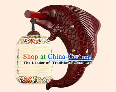 China Handmade Pierced Ceramics Lantern Ancient Wood Fish Wall Lanterns Traditional Lamp