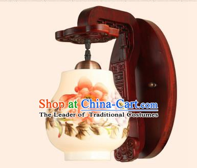 China Handmade Painting Flowers Ceramics Lantern Ancient Wood Wall Lanterns Traditional Lamp