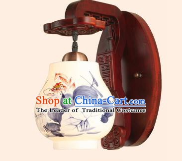 China Handmade Painting Lotus Ceramics Lantern Ancient Wood Wall Lanterns Traditional Lamp