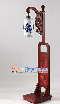 China Handmade Painting Peony Ceramics Floor Lantern Ancient Wood Lanterns Traditional Lamp