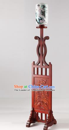 China Handmade Lanterns Painting Ceramics Floor Lantern Ancient Wood Lanterns Traditional Lamp