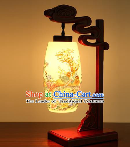 China Handmade Ceramics Desk Lantern Ancient Wood Painting Birds Lanterns Traditional Lamp