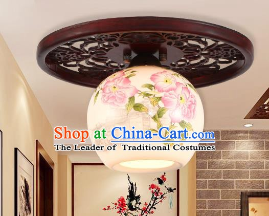 Traditional Chinese Handmade Ceramics Lantern Asian Painting Flowers Ceiling Lanterns Ancient Lantern
