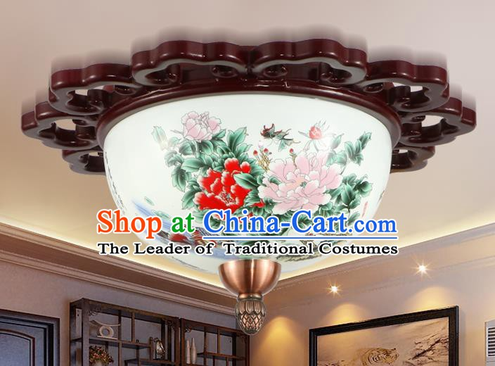 Traditional Chinese Handmade Ceramics Lantern Asian Painting Peony Ceiling Lanterns Ancient Lantern