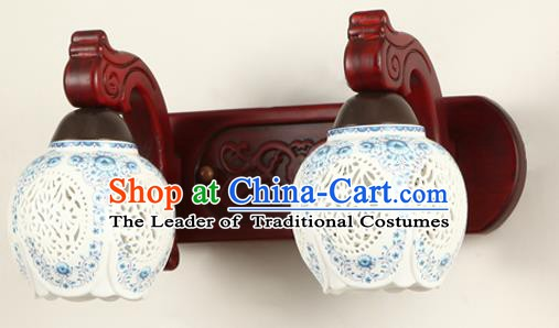 China Handmade Palace Lanterns Pierced Ceramics Two-Lights  Wall Lantern Ancient Wood Lanterns Traditional Lamp