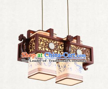 Traditional Chinese Handmade Two-Lights Hanging Lantern Painting Lotus Wood Lantern Ancient Palace Ceiling Lanterns