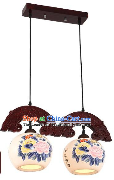 Traditional Chinese Handmade Two-Lights Hanging Lantern Wood Painting Peony Lantern Ancient Palace Ceiling Lanterns