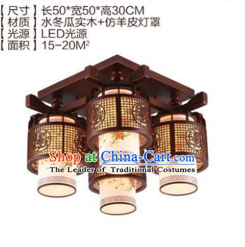 Traditional Chinese Handmade Four-Lights Lantern Wood Carving Lantern Ancient Palace Ceiling Lanterns