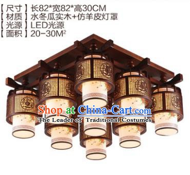 Traditional Chinese Handmade Nine-Lights Lantern Wood Carving Lantern Ancient Palace Ceiling Lanterns