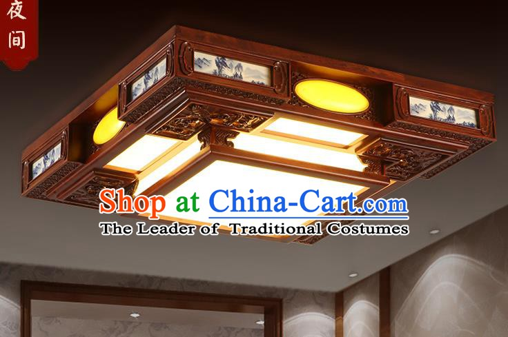 Traditional Chinese Handmade Square Ceiling Lantern Wood Palace Lanterns Ancient Lamp