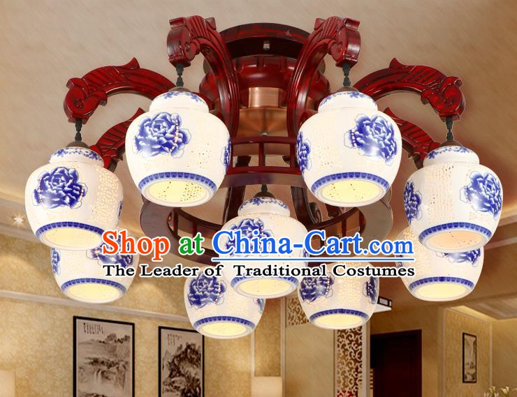 Traditional Chinese Handmade Nine-Pieces Ceiling Lantern Wood Palace Lanterns Ancient Lamp