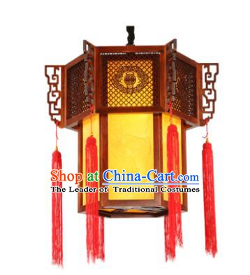 Traditional Chinese Handmade New Year Hanging Lantern Wood Palace Lanterns Ancient Lamp