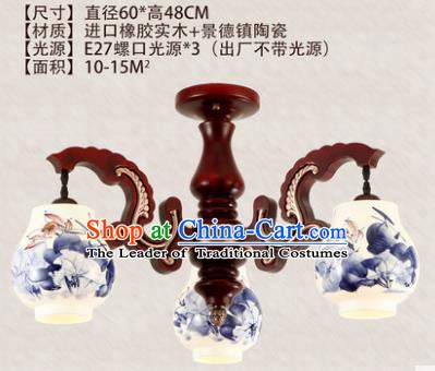Traditional Chinese Handmade Three-Lights Lantern Painting Lotus Lantern Ancient Palace Ceiling Lanterns