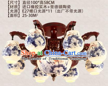 Traditional Chinese Handmade Eight-Lights Lantern Painting Lotus Lantern Ancient Palace Ceiling Lanterns