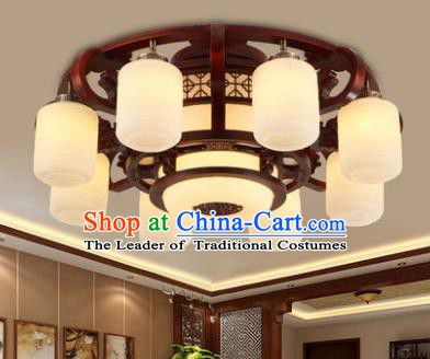 Traditional Chinese Handmade Eight-Lights Lantern Wood Lantern Ancient Palace Ceiling Lanterns