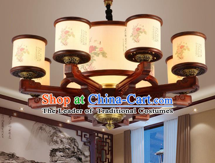 Traditional Chinese Handmade Painting Flowers Wood Lantern Eight-Lights Palace Lantern Ancient Ceiling Lanterns
