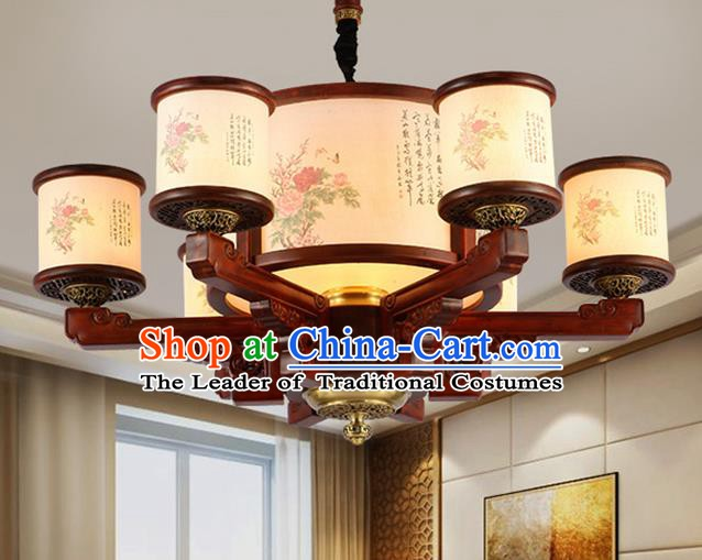 Traditional Chinese Handmade Painting Flowers Wood Lantern Six-Lights Palace Lantern Ancient Ceiling Lanterns