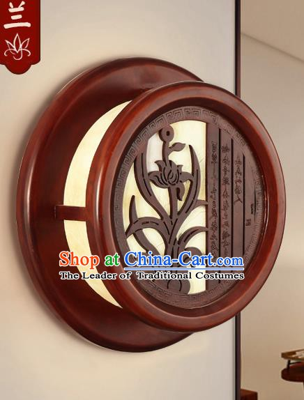 China Handmade Palace Lanterns Orchid Wall Lantern Ancient Wood Lanterns Traditional Lamp