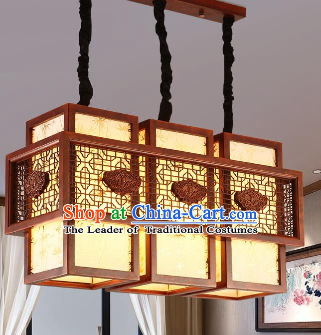 Traditional Chinese Handmade Sheepskin Lantern Three-Lights Wood Palace Lantern Ancient Ceiling Lanterns