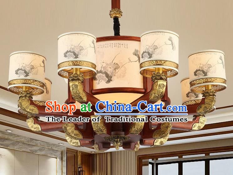 Traditional Chinese Handmade Painted Lantern Eight-Lights Wood Palace Lantern Ancient Ceiling Lanterns