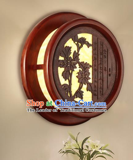 China Handmade Palace Lanterns Chrysanthemum Wall Lantern Ancient Wood Lanterns Traditional Lamp