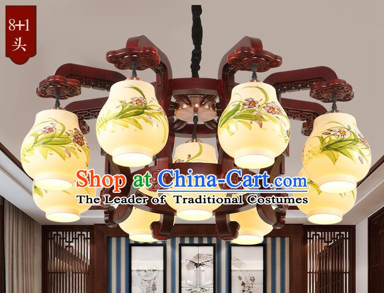 Traditional Chinese Handmade Painting Orchid Lantern Nine-Lights Palace Lantern Ancient Ceiling Lanterns
