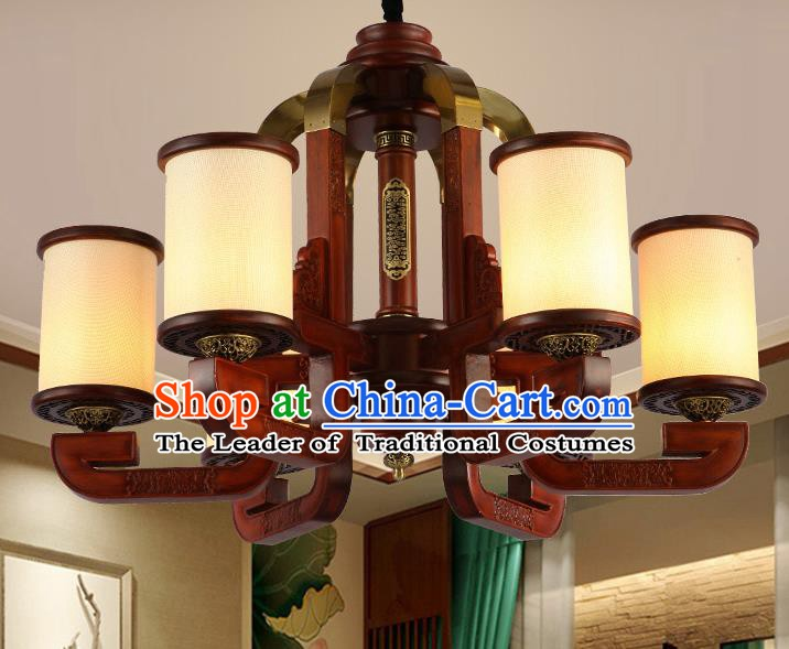 Traditional Chinese Handmade Lantern Six-Lights Wood Palace Lantern Ancient Ceiling Lanterns