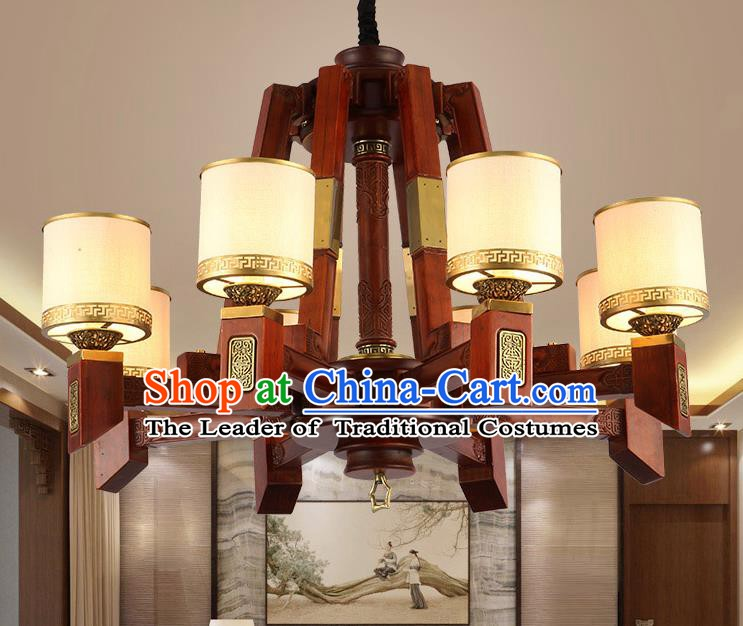 Traditional Chinese Handmade Lantern Eight-Lights Wood Palace Lantern Ancient Ceiling Lanterns