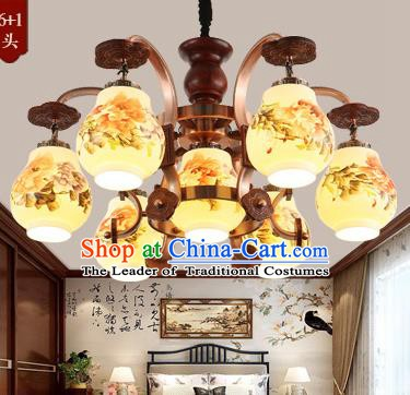Traditional Chinese Handmade Painting Peony Lantern Seven-Lights Palace Lantern Ancient Ceiling Lanterns