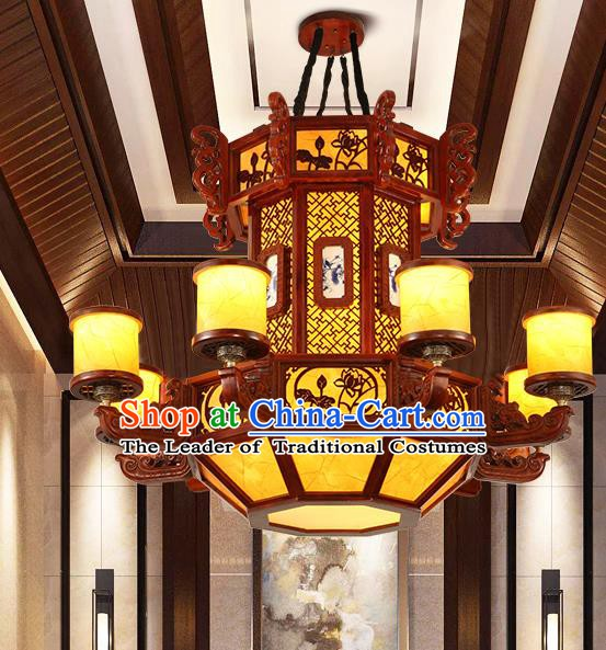 Traditional Chinese Handmade Ceiling Lantern Carving Lotus Hanging Palace Lanterns Ancient Lamp