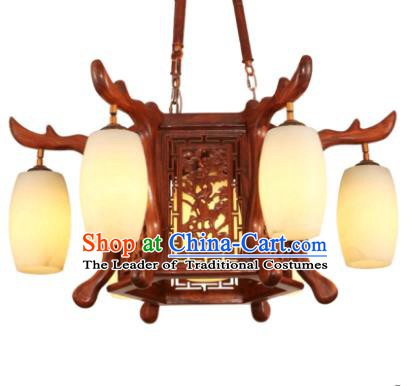 Traditional Chinese Handmade Six-Lights Ceiling Lantern Rosewood Palace Lanterns Ancient Lamp
